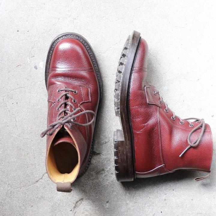 """""""美品"""" Tricker's(トリッカーズ)Lace Up Boots(レースアップブーツ)UK6 GRASSMERE 6895 シボ革 レッドブラウン 定価¥88,000-"""
