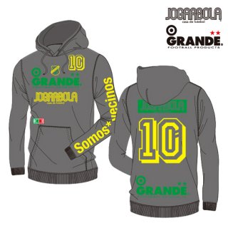 """<img class='new_mark_img1' src='https://img.shop-pro.jp/img/new/icons25.gif' style='border:none;display:inline;margin:0px;padding:0px;width:auto;' />JOGARBOLA×GRANDE """"Somos* vecinos"""" HEAVY WEIGHT SWEAT PARKA - GRY/YEL/GRN"""