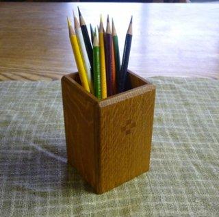 木のペン立て 袴なし 木象嵌4つ