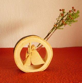 月うさぎの一輪挿し(見上げる小ウサギデザイン) 〜みかんの木のクラフトシリーズ〜