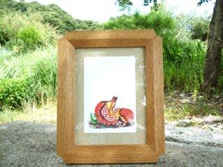 木の額縁 角がサクラの花びらデザイン 写真2Lサイズ