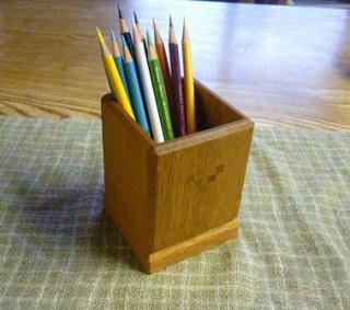 木のペンたて 袴付き 木象嵌5つデザイン