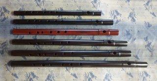 オリジナル横笛 女竹 本漆根来調塗り B♭管(六本調子)