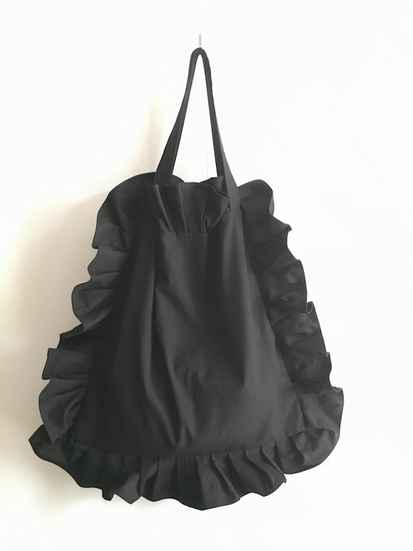 Canvas Tote Bag  / 帆布 フリルバック  Black Big
