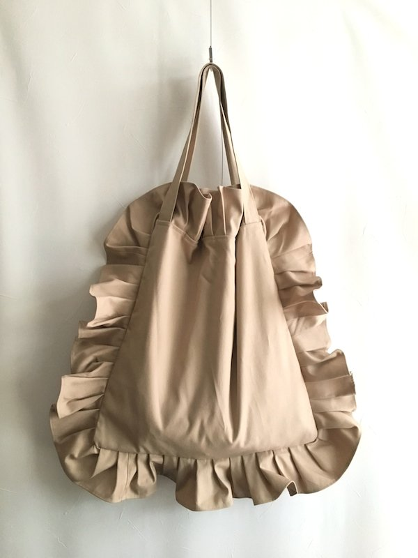 Canvas Tote Bag  / 帆布 フリルバック  Beige Big