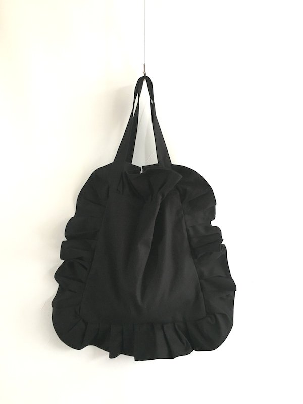 Canvas Tote Bag  / 帆布 フリルバック  Black Small