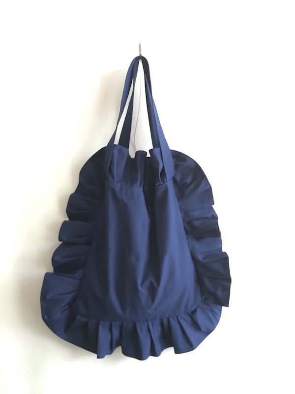 Canvas Tote Bag  / 帆布 フリルバック  Navy Small