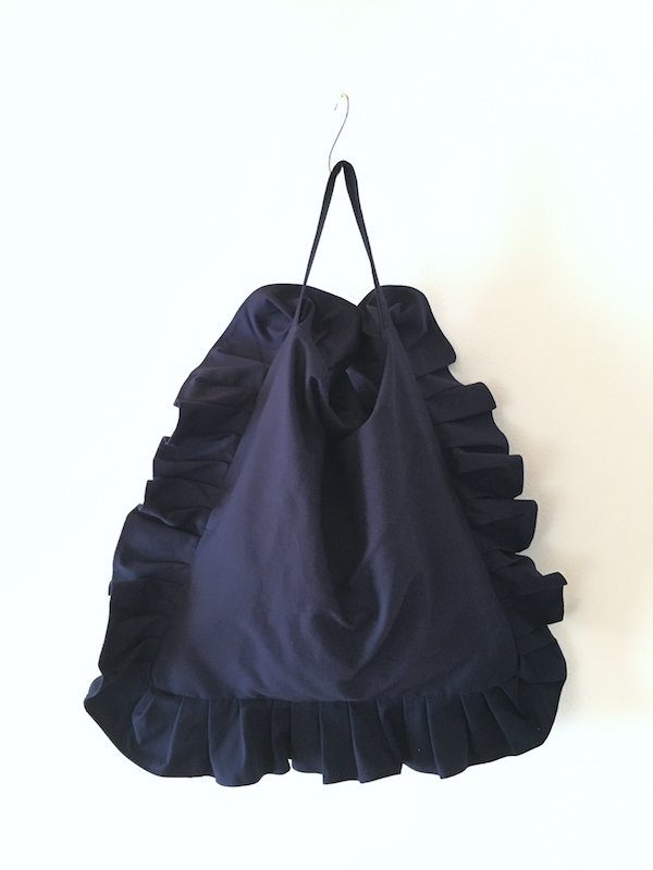Canvas Tote Bag  / 帆布 フリルバック  Navy Big