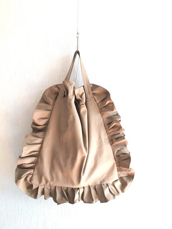 Canvas Tote Bag  / 帆布 フリルバック  Beige Bigサイズ