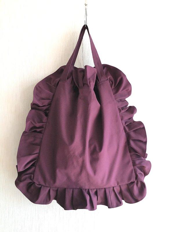 Canvas Tote Bag  / 帆布 フリルバック  ボルドー Bigサイズ