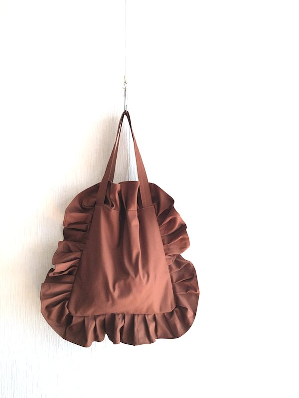 Canvas Tote Bag  / 帆布 フリルバック  Brown Small