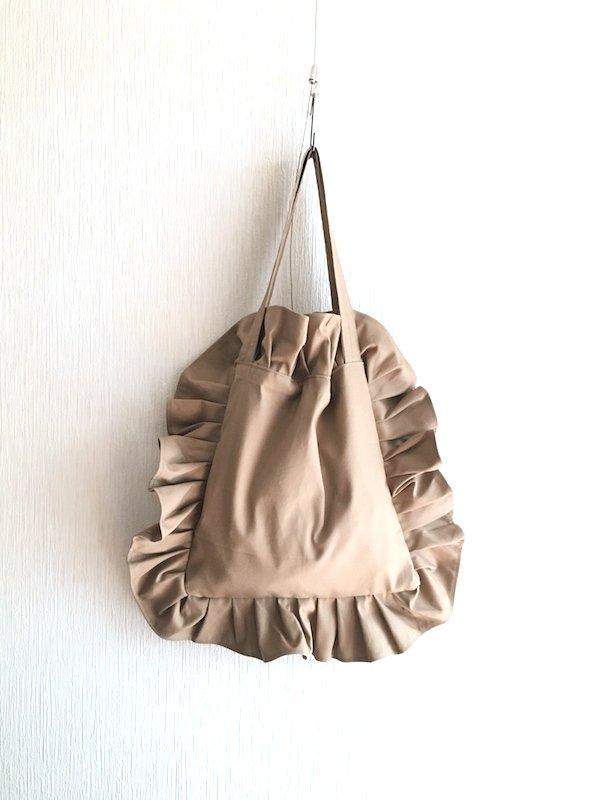 Canvas Tote Bag  / 帆布 フリルバック  Beige Small