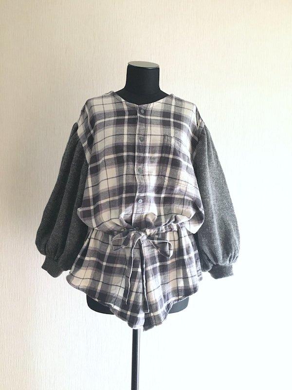 Remake nel knit top / リメイクブラウジングネルニット(Gray×White)