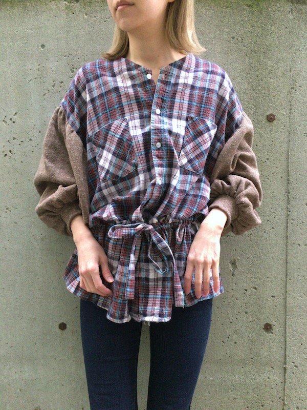 Remake nel knit top / リメイクブラウジングネルニット(Brown×skyblue)