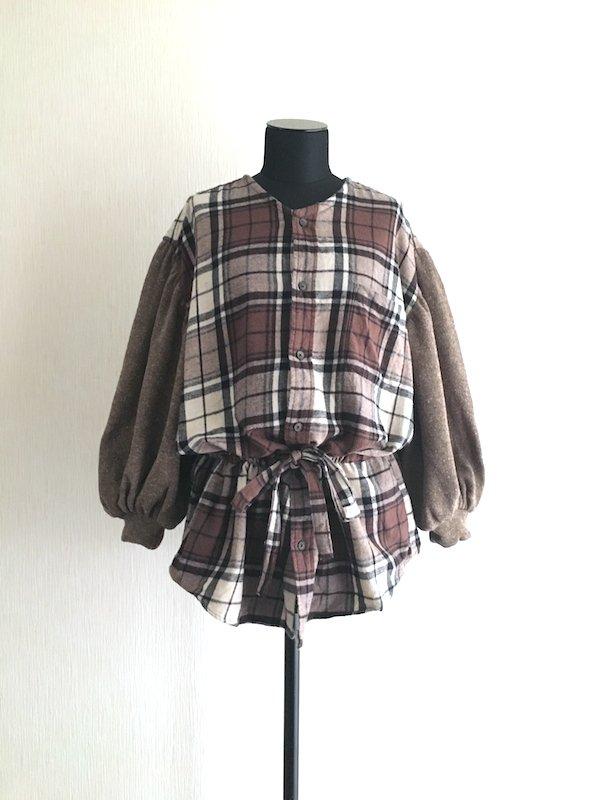 Remake nel knit top / リメイクブラウジングネルニット(Brown)
