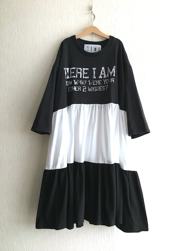 Remake Tiered Dress / リメイク ティアードワンピース (Black×White)