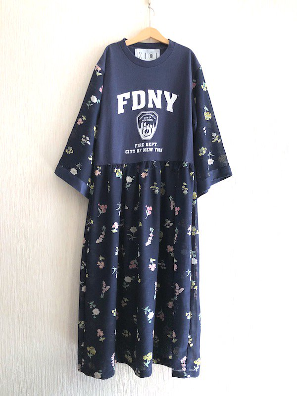 Remake Loose Dress/ リメイクルーズワンピース ( Flower/Navy )