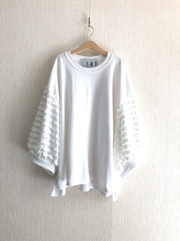 Ruffle Sleeve Top / ラッフルスリーブ トップ (White)