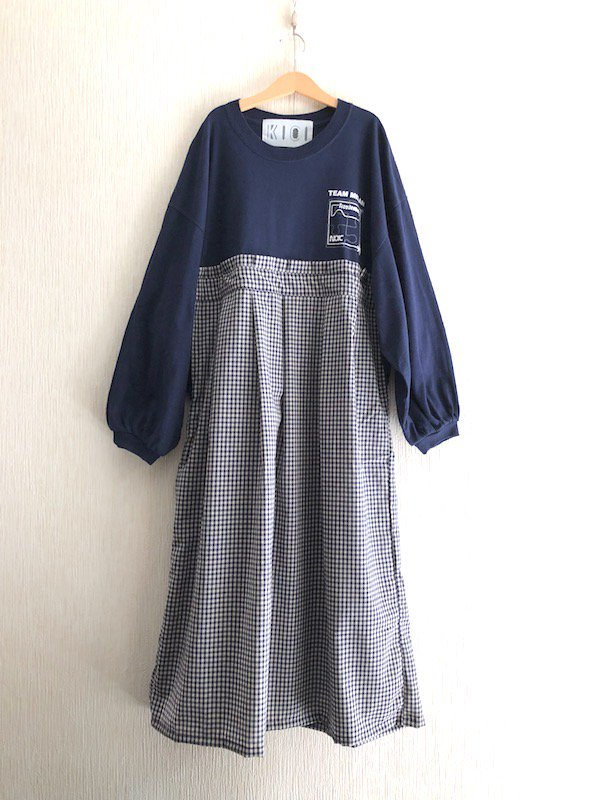 Remake Tuck Dress / リメイク タック ルーズワンピース (Navy/gingham)
