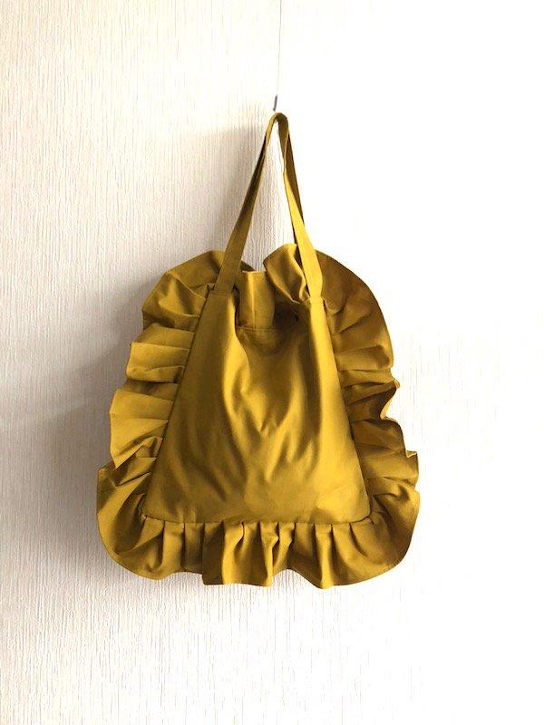 Canvas  Frill Tote Bag  /キャンバス フリルトートバック  (Yellow/ Small)