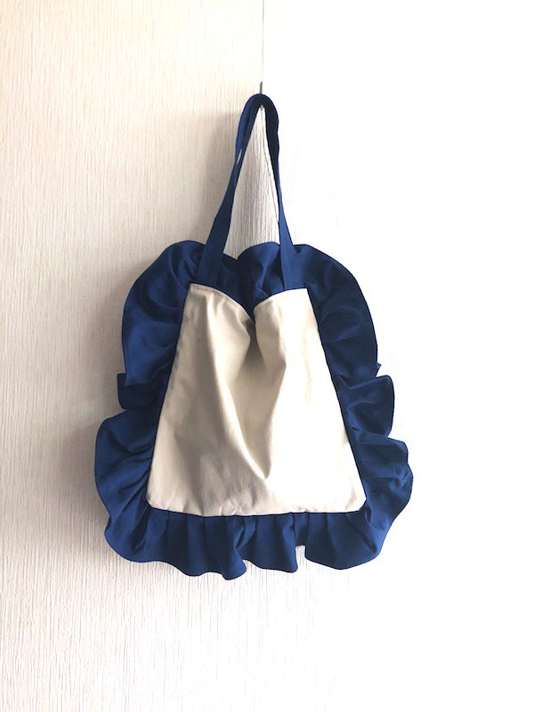 Canvas  Frill Tote Bag  /キャンバス フリルトートバック  (Blue&Beige / Small)