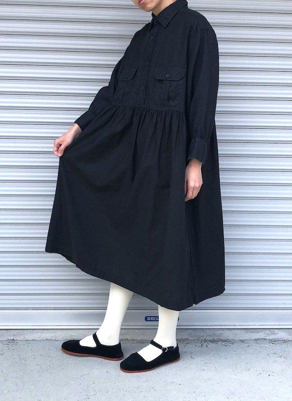 Remake Shirts Dress / リメイクシャツワンピース (ブラック/linen)