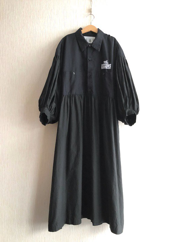 Remake balloon Shirts Dress / リメイク バルーン袖シャツワンピース (ブラック/Work)