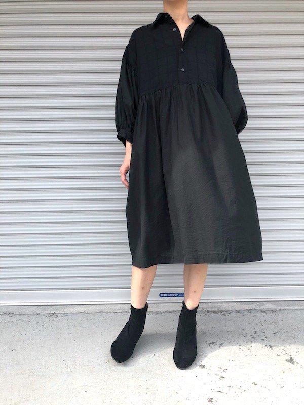 Remake balloon Shirts Dress / リメイク バルーン袖シャツワンピース (ブラック)