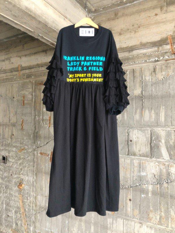 Remake Frill Loose Dress  / リメイク フリルスリーブワンピース  (ブラック)