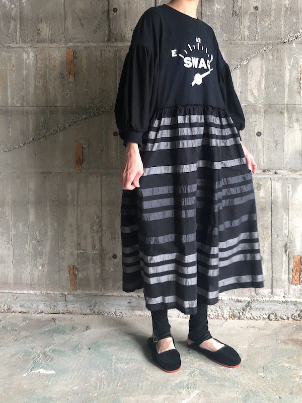 Remake Border Loose Dress  / リメイク ボーダールーズワンピース (swag)