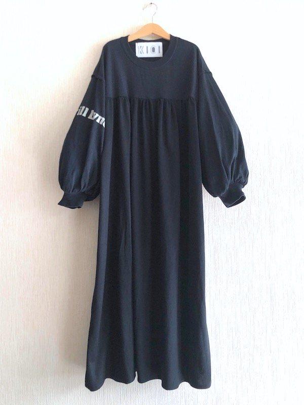 Remake Print Sleeve  Dress  / リメイク プリントスリーブワンピース(BLK-2)
