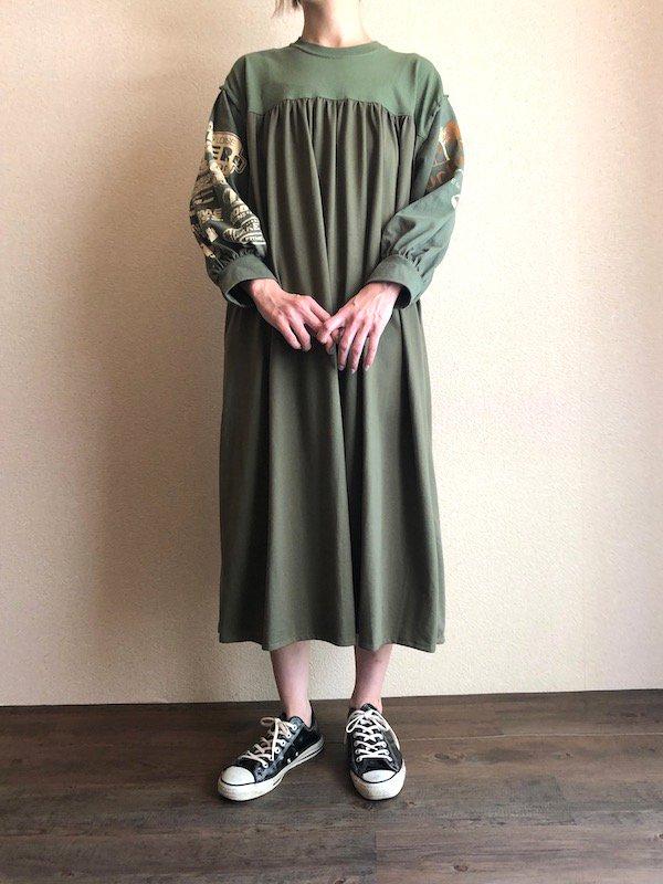 Remake Print Sleeve  Dress  / リメイク プリントスリーブワンピース(KHK)
