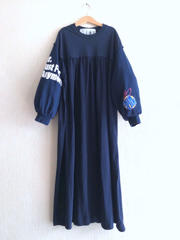 Remake Print Sleeve  Dress  / リメイク プリントスリーブワンピース(NV)
