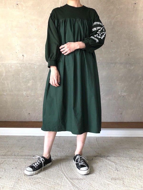 Remake Print Sleeve  Dress  / リメイク プリントスリーブワンピース(GRN-1)