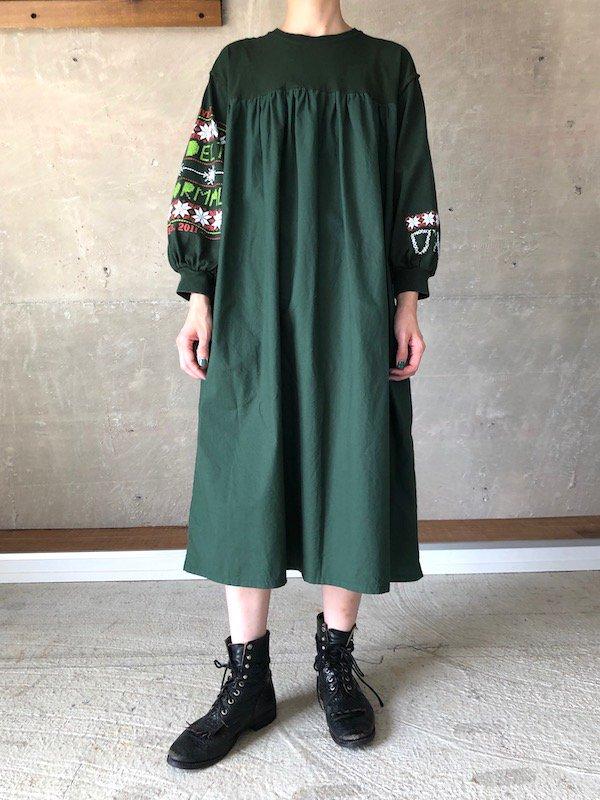 Remake Print Sleeve  Dress  / リメイク プリントスリーブワンピース(GRN-2)