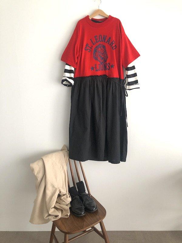 Remak apron Dress / リメイクエプロンTシャツワンピース (RED-1)