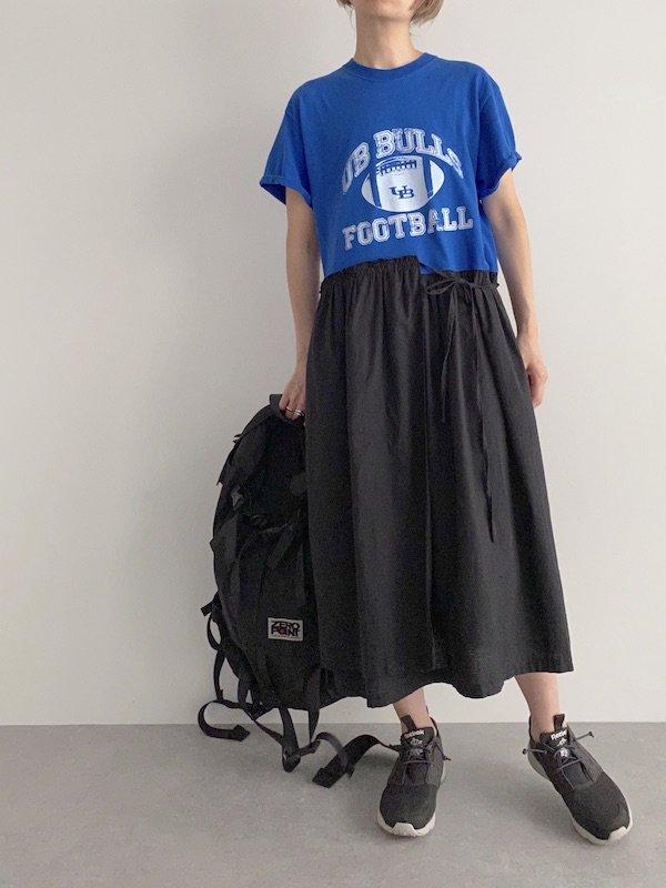 Remak apron Dress / リメイクエプロンTシャツワンピース (BL)