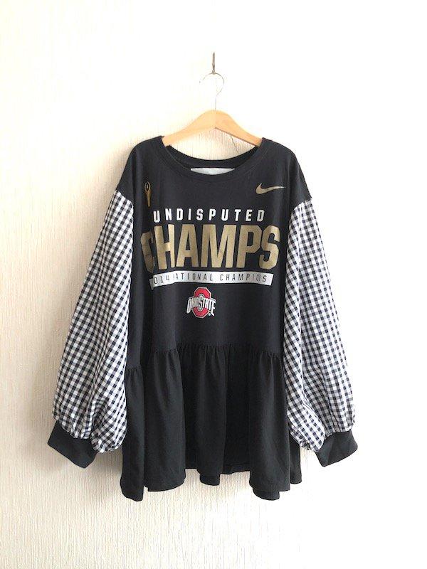 Remake Checker Tunic  / リメイク チェック柄 チュニックTシャツ(BK)