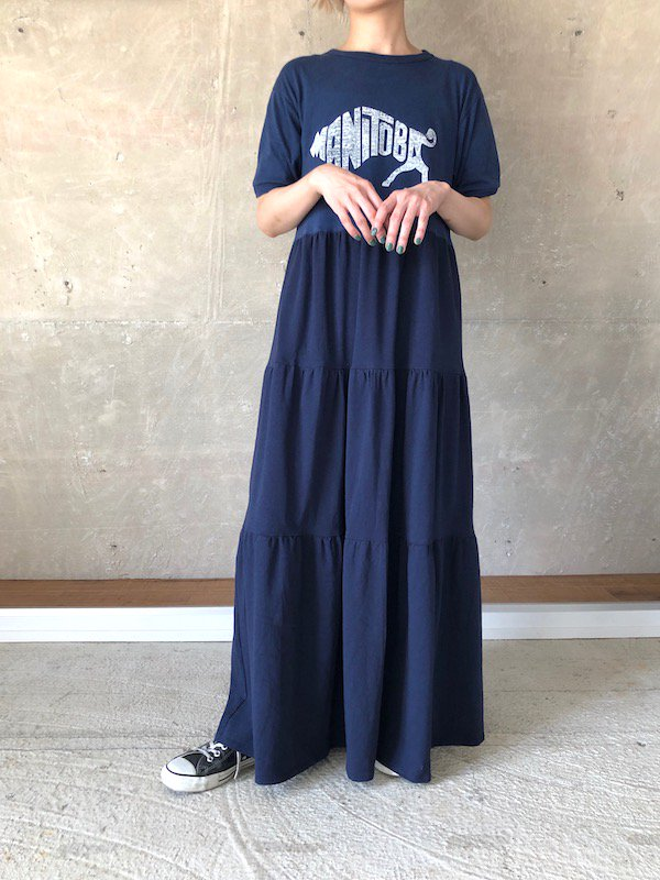 Remake tiered maxi dress  / リメイクティアードマキシワンピース(NV-1)
