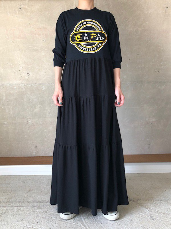 Remake tiered Long sleeve maxi dress  / リメイクティアードマキシワンピース(BK)