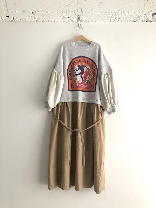 Remake Sweat Dress  / リメイク スウェットワンピース  (Oatmeal×Beige)