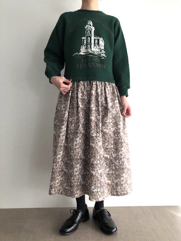 Remake Sweat Dress  / リメイク スウェットワンピース  (Grn×Flower)