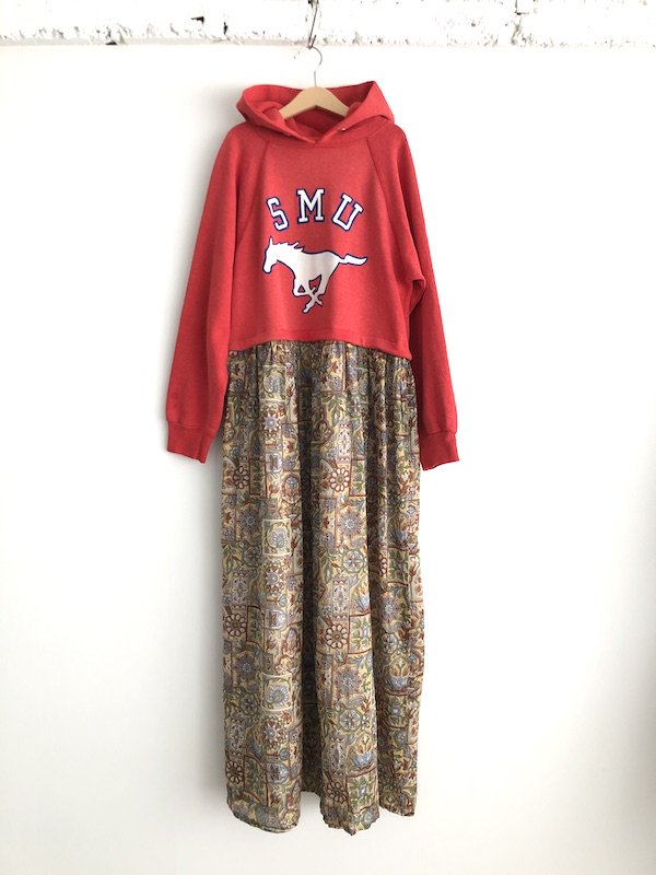 Remake Indian Parka Maxi Dress  / リメイク パーカ マキシ丈ワンピース  (Red)