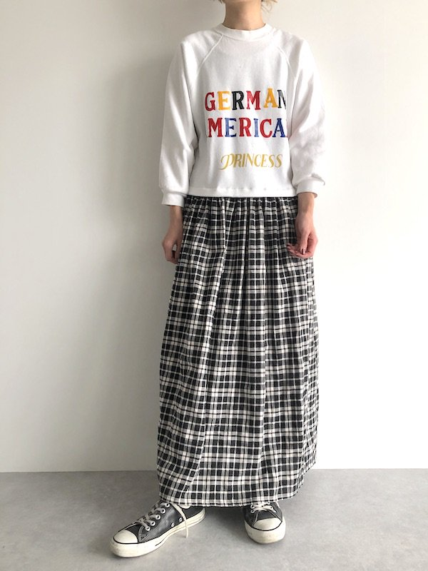 Remake Sweat Check Maxi Dress  / リメイク スウェットチェック マキシワンピース  (wht×wht check)
