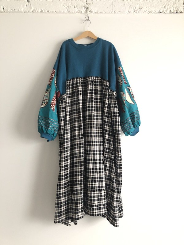 Remake Sweat African Check  Dress  / リメイク スウェットチェック ロングワンピース(African cotton)