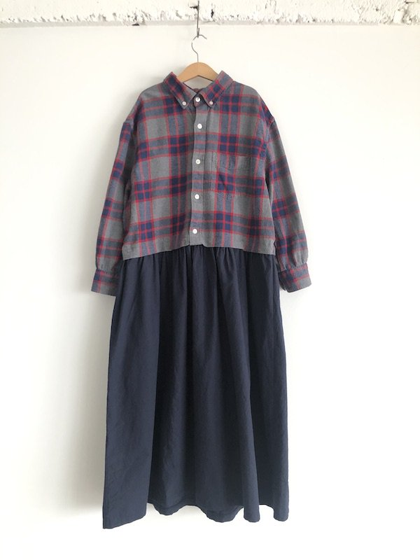 Remake Flannel shirt dress / リメイクネルシャツワンピース ( Red Gray/Navy )