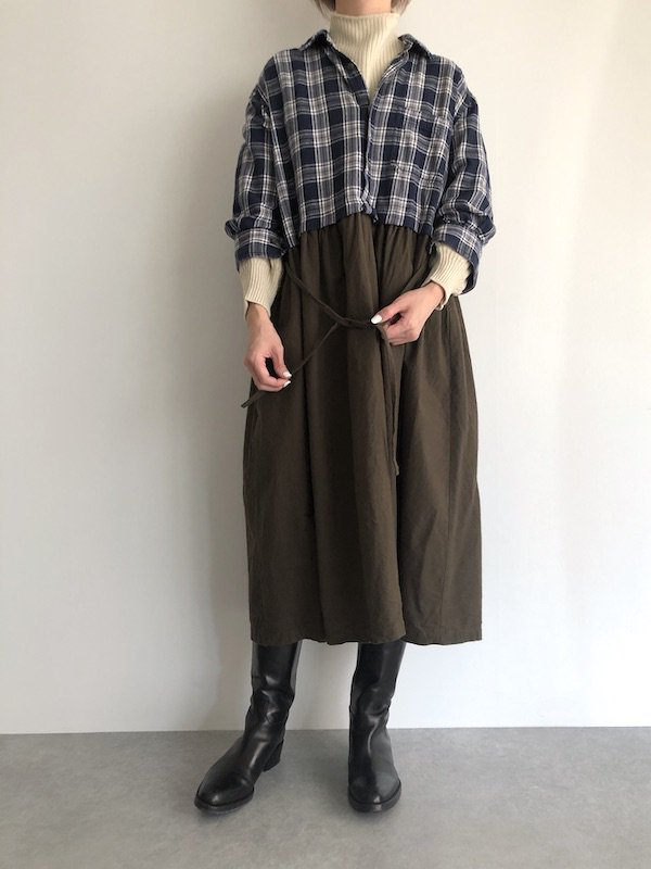 Remake Flannel shirt dress / リメイクネルシャツワンピース ( Navy/Khaki )