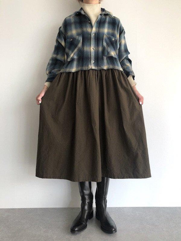 Remake Flannel shirt dress / リメイクネルシャツワンピース ( Blue/Khaki )