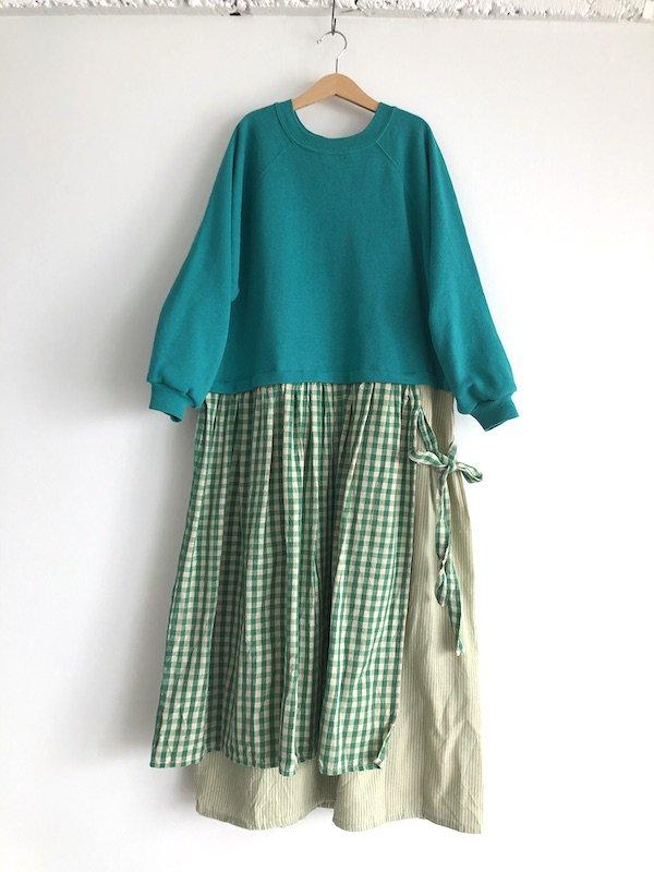 Remake Check&Stripe Sweat Dress / リメイクチェック&ストライプスウェットワンピース