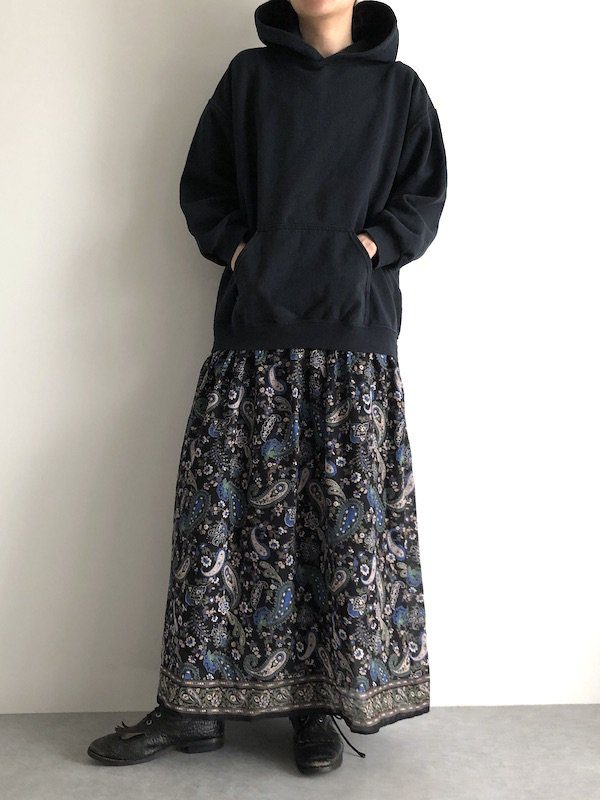 Remake  Indian parka dress / リメイク パーカ インド綿ワンピース